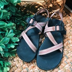 Women's vintage original made in CO Chacos in pink